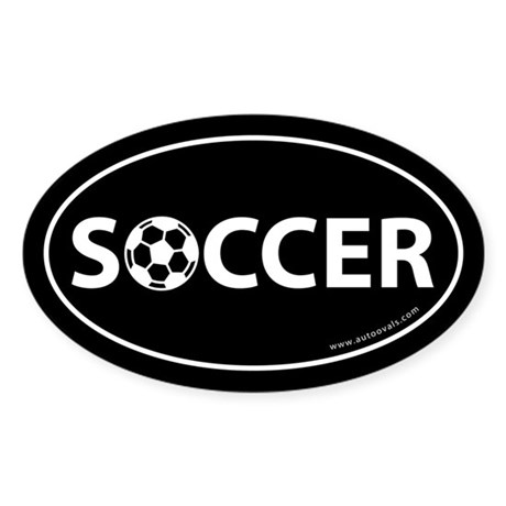 Soccer Text w/ Ball Auto Decal -Black (Oval)