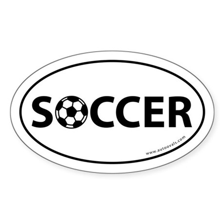 Soccer Text w/ Ball Auto Decal -White (Oval)