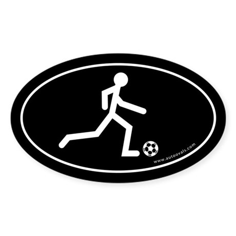 Soccer Kick Auto Decal -White (Oval)