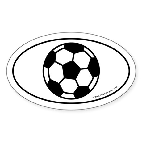 Soccer Ball (Soccer Eye) Auto Decal -White (Oval)