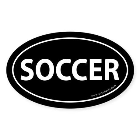 Soccer Text Auto Decal -Black (Oval)