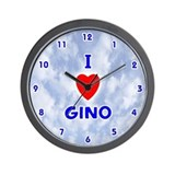 I Love Gino (Blue) Valentine Wall Clock