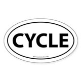 Cycle Text Auto Decal -White (Oval)
