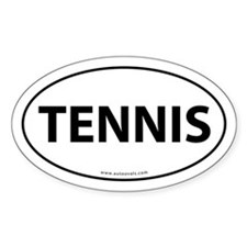 Tennis Auto Decal -White (Oval)