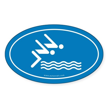 Competitive Swimming Auto Decal -Blue (Oval)