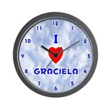 I Love Graciela (Blue) Valentine Wall Clock