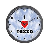 I Love Tessa (Black) Valentine Wall Clock