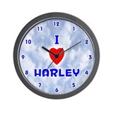I Love Harley (Blue) Valentine Wall Clock