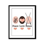 Peace Love Fence Fencing Framed Panel Print