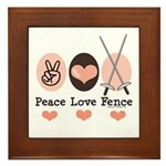 Peace Love Fence Fencing Framed Tile