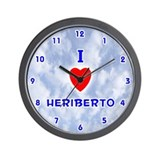 I Love Heriberto (Blue) Valentine Wall Clock