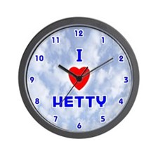I Love Hetty (Blue) Valentine Wall Clock