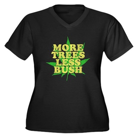 More Trees Less Bush Womens Plus Size V-Neck Dark