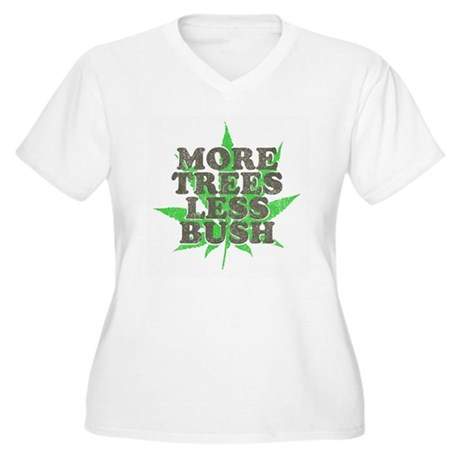 More Trees Less Bush Womens Plus Size V-Neck T-Sh