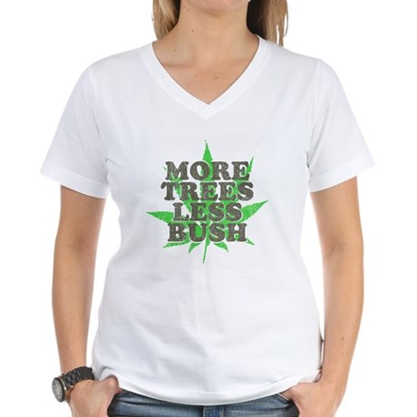 More Trees Less Bush Womens V-Neck T-Shirt