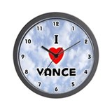 I Love Vance (Black) Valentine Wall Clock