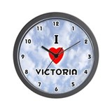 I Love Victoria (Black) Valentine Wall Clock