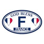 God Bless France Oval Sticker