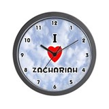 I Love Zachariah (Black) Valentine Wall Clock