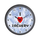 I Love Zachery (Black) Valentine Wall Clock
