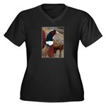 Ringtail Pheasant Women's Plus Size V-Neck Dark T-