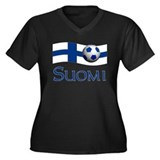 TEAM SUOMI FINNISH Women's Plus Size V-Neck Dark T