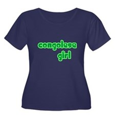Congelese Girl Cute Women's Plus Size Scoop Neck D