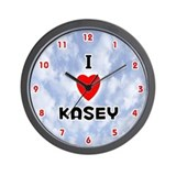 I Love Kasey (Red/Blk) Valentine Wall Clock