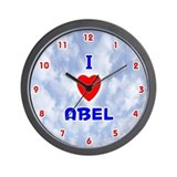 I Love Abel (Red/Bl) Valentine Wall Clock