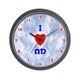 I Love Ad (Red/Bl) Valentine Wall Clock