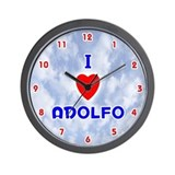 I Love Adolfo (Red/Bl) Valentine Wall Clock