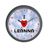 I Love Leanna (Red/Blk) Valentine Wall Clock