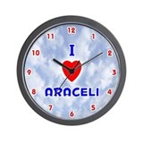 I Love Araceli (Red/Bl) Valentine Wall Clock