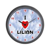 I Love Lilian (Red/Blk) Valentine Wall Clock