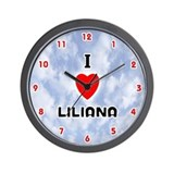 I Love Liliana (Red/Blk) Valentine Wall Clock