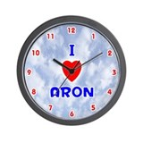 I Love Aron (Red/Bl) Valentine Wall Clock