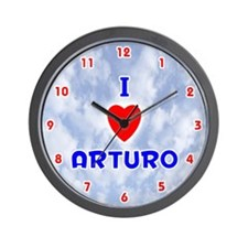 I Love Arturo (Red/Bl) Valentine Wall Clock