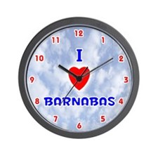 I Love Barnabas (Red/Bl) Valentine Wall Clock