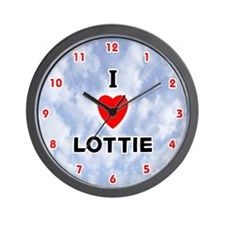 I Love Lottie (Red/Blk) Valentine Wall Clock
