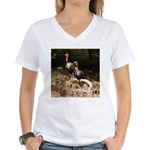 Two Turkeys on a Log Women's V-Neck T-Shirt