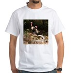 Two Turkeys on a Log White T-Shirt