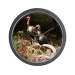 Two Turkeys on a Log Wall Clock