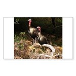 Two Turkeys on a Log Rectangle Sticker
