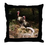 Two Turkeys on a Log Throw Pillow