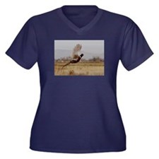 Pheasant Women's Plus Size V-Neck Dark T-Shirt