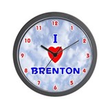 I Love Brenton (Red/Bl) Valentine Wall Clock
