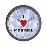 I Love Maribel (Red/Blk) Valentine Wall Clock