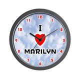 I Love Marilyn (Red/Blk) Valentine Wall Clock
