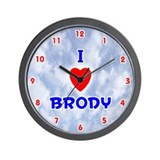 I Love Brody (Red/Bl) Valentine Wall Clock