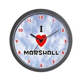 I Love Marshall (Red/Blk) Valentine Wall Clock